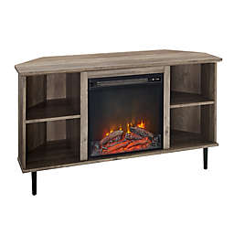 Forest Gate™ Corner Fireplace TV Stand in Grey Wash