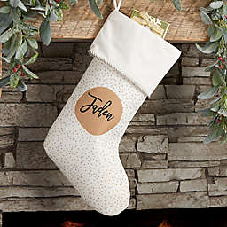 Modern Polka Dot Personalized Christmas Stocking in Ivory