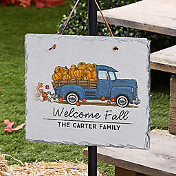 9.5-Inch Personalized Vintage Fall Truck Indoor/Outdoor Slate Plaque in Grey