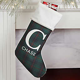 Christmas Plaid Personalized Christmas Stocking in Ivory