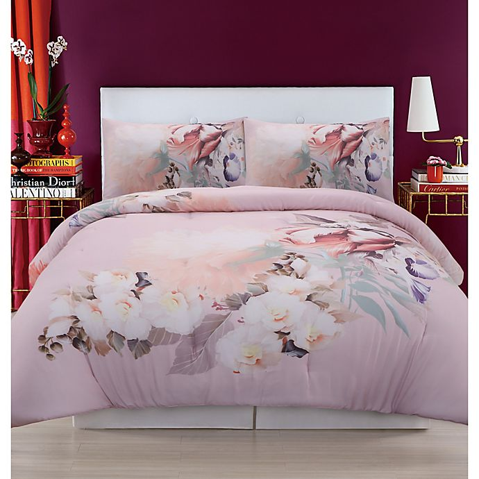 Alternate image 1 for Christian Siriano NY® Dreamy Floral Full/Queen Duvet Cover Set in Pink