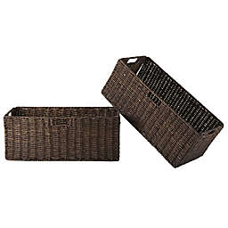 Winsome Trading Granville 2-Piece Large Corn Husk Foldable Basket Set in Chocolate