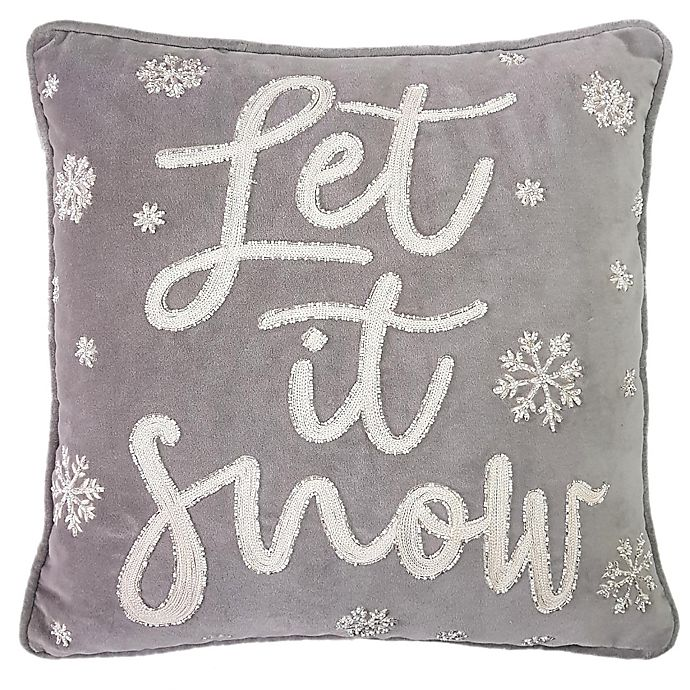 Alternate image 1 for Let It Snow Square Throw Pillow in Grey