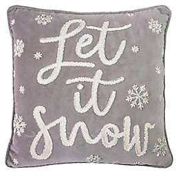 Let It Snow Square Throw Pillow in Grey