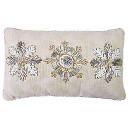 Snowflakes Oblong Throw Pillow in Natural