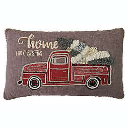 Home For The Holidays Oblong Throw Pillow in Grey