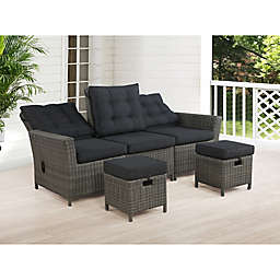 Alaterre Asti All-Weather Wicker Patio Ottomans with Cushions in Dark Grey (Set of 2)