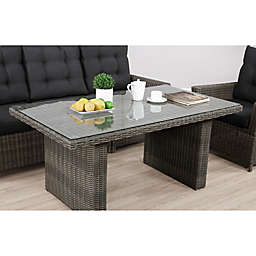 Alaterre Asti All-Weather Wicker Patio Cocktail Table in Dark Grey