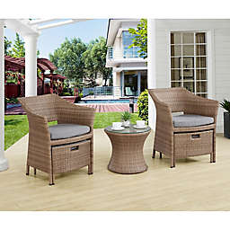 Alaterre 5-Piece All-Weather Wicker Patio Chair, Accent Table and Ottoman Set with Cushions in Grey