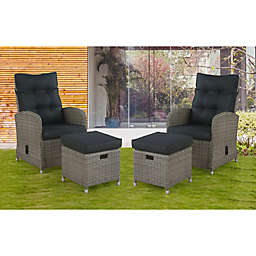 Alaterre Monaco 4-Piece All-Weather Wicker Patio Recliner and Ottoman Set with Cushions in Grey