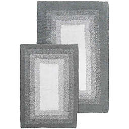 Whitney Ombre 2-Piece Bath Rugs in Grey