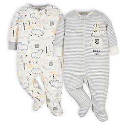 Gerber® 2-Pack Jungle Sleep 'n Play Footies in Grey