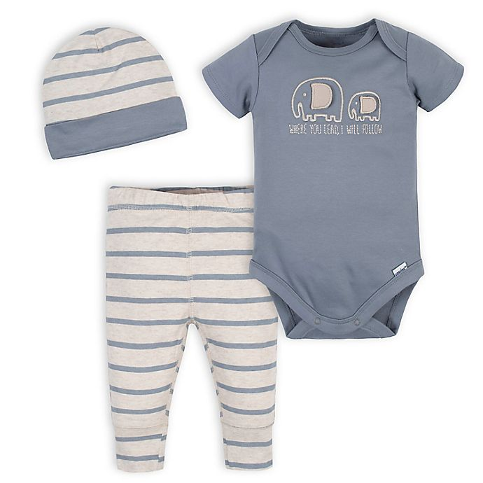 Alternate image 1 for Gerber® Size 6-9M 3-Piece Organic Cotton Jungle Onesies® Bodysuit, Pant and Hat Set in Grey
