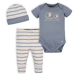 Gerber® 3-Piece Organic Cotton Jungle Onesies® Bodysuit, Pant and Hat Set in Grey