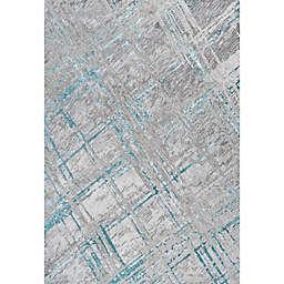 JONATHAN Y Slant Modern Abstract Area Rug in Grey/Turquoise
