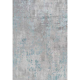 JONATHAN Y Timeworn Modern Abstract Rug in Grey/Turquoise