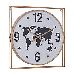 Ridge Road Décor 26-Inch Square Metal Framed Wall Clock With Round World Map Face