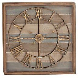 Ridge Road Dècor 30-Inch Square Striped Wood Wall Clock with Roman Numerals