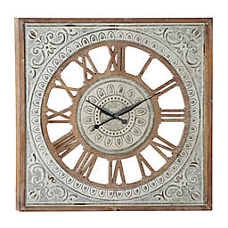 Ridge Road Décor 36-Inch Extra Large Square Metal Textured Pattern Wall Clock