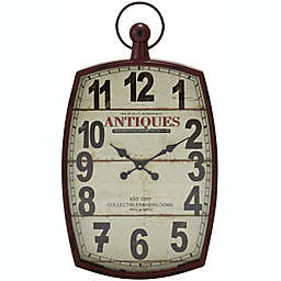 Ridge Road Décor 19-Inch x 33-Inch Large Rectangular Metal Wall Clock in Red