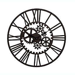 Ridge Road Dècor 32-Inch Round Industrial Metal Gear Wall Clock in Black
