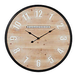 Ridge Road Décor 31-Inch Extra Large Round Wood Wall Clock with Black Metal