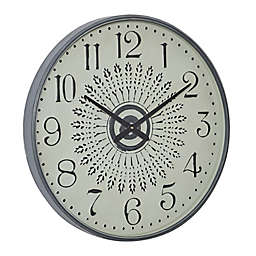 Ridge Road Décor Large Round Metal Wall Clock in White/Grey