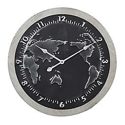 Ridge Road Décor 25-Inch Large Round Map Metal Wall Clock in Black/Grey