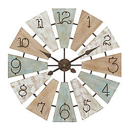 Ridge Road Décor 32-Inch Extra Large Round Multicolored Wood Windmill Face Wall Clock