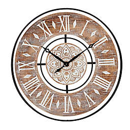 Ridge Road Décor Extra-Large Round Wood Wall Clock with Black Iron