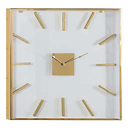 Ridge Road Décor 30-Inch Extra Large Square Gold Metal Wall Clock