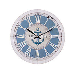 Ridge Road Décor 23.5-Inch Large Round Anchor Wood Wall Clock in Blue/White