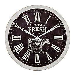 Ridge Road Décor 23.5-Inch Large Round Farm Fresh Metal Wall Clock in Black/White
