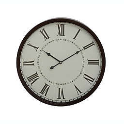 Ridge Road Décor Large Round Black Metal Wall Clock with  Spade Hands