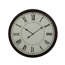Ridge Road Décor 30-Inch Extra-Large Round Black Metal Wall Clock with Spade