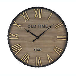 Ridge Road Décor 36-Inch Extra Large Round Metal and Wood Wall Clock in Brown/Gold