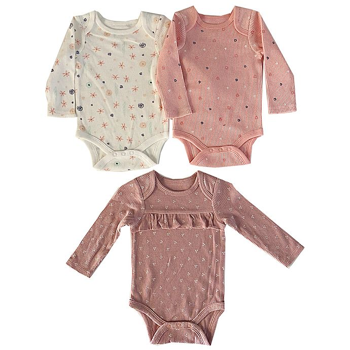 Alternate image 1 for Sterling Baby 3-Pack Thermal Bodysuits in Pink/White