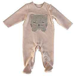 Sterling Baby Cat Rib Velour Footie in Pink