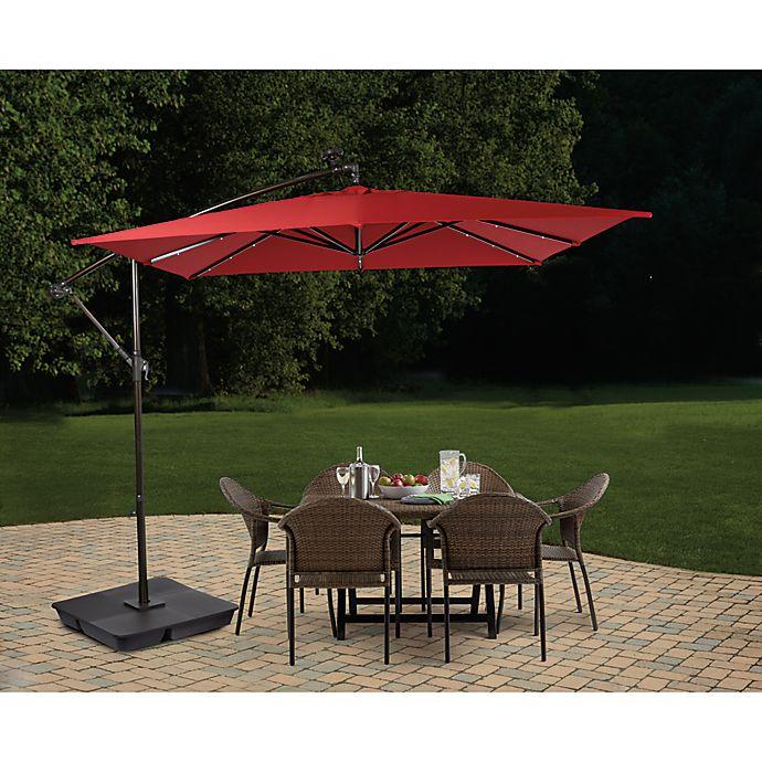 Alternate image 1 for Destination Summer 8.5-Foot Square Offset Solar LED Patio Umbrella in Salsa
