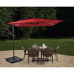 Destination Summer 8.5-Foot Square Offset Solar LED Patio Umbrella in Salsa