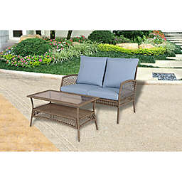 Bee & Willow™ Home Providence 2-Piece Wicker Patio Loveseat and Coffee Table Set in Brown
