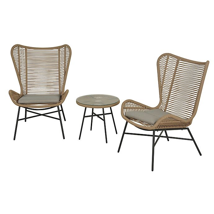 Alternate image 1 for Global 3-Piece Rope Patio Furniture Set in Tan
