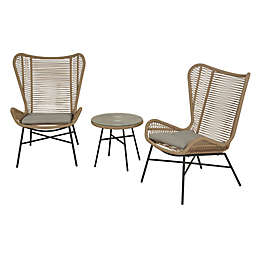 Global 3-Piece Rope Patio Furniture Set in Tan