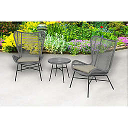 Global 3-Piece Rope Patio Furniture Set in Grey