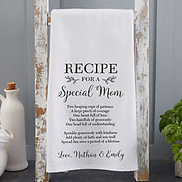 Recipe for a Special Mom Tea Towel in White