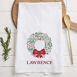 Merry Mistletoe Wreath Tea Towel in White
