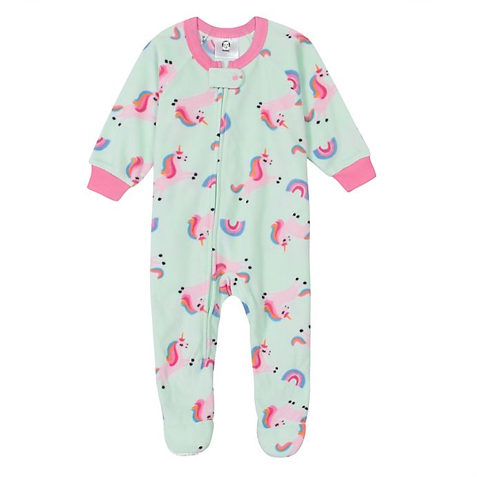 Alternate image 1 for Gerber® Unicorn Fleece Footed Pajama in Aqua