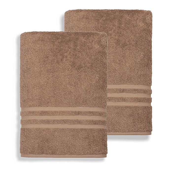 Alternate image 1 for Linum Home Textiles Denzi Turkish Cotton Bath Sheets in Latte (Set of 2)