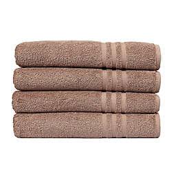 Linum Home Textiles Denzi Turkish Cotton Bath Towels in Latte (Set of 4)