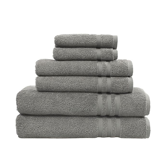 Alternate image 1 for Linum Home Textiles Denzi 6-Piece Turkish Cotton Bath Towel Set in Dark Grey